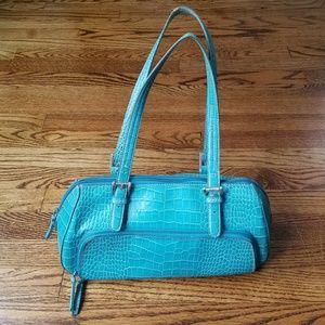 Nine West Teal Crocodile Print Baguette Handbag